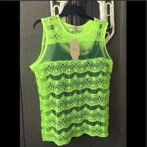💋💎LIME GREEN Embroidered Lace Top
